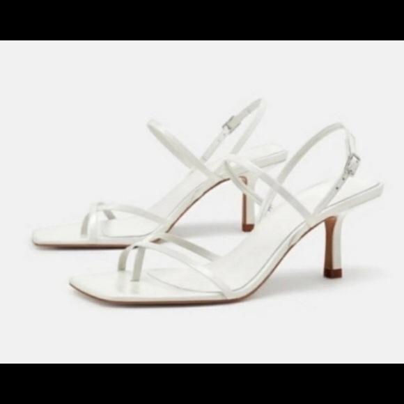 Zara square toe strappy white sandal size 35